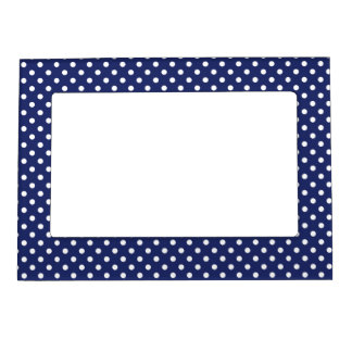 Navy Blue and White Polka Dots Pattern Magnetic Frame