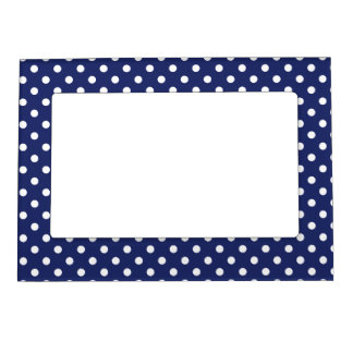 Navy Blue and White Polka Dots Pattern Magnetic Picture Frame