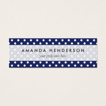Beach Themed Navy Blue and White Polka Dots Pattern Mini Business Card