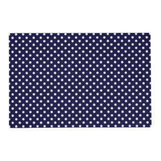 Navy Blue and White Polka Dots Pattern Placemat