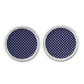 Navy Blue and White Polka Dots Pattern Cufflinks