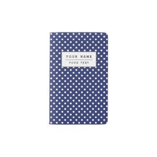 Navy Blue and White Polka Dots Pattern Pocket Moleskine Notebook