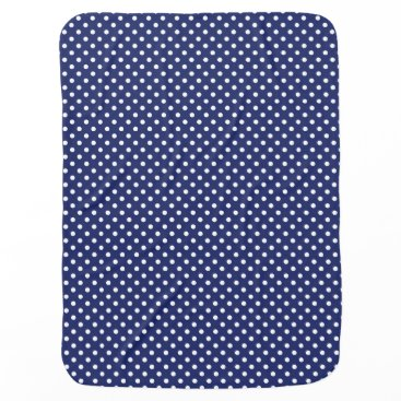 Beach Themed Navy Blue and White Polka Dots Pattern Receiving Blanket