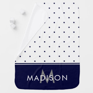 Navy Blue and White Polka Dots Receiving Blanket