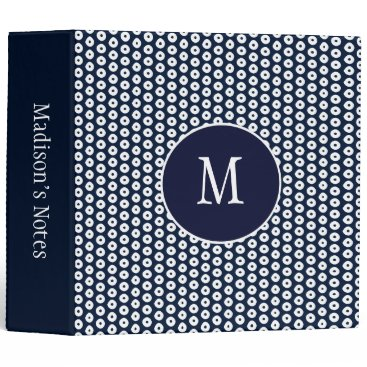 Beach Themed Navy Blue and White Polka Dots School 3 Ring Binder