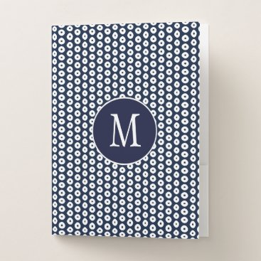 Aztec Themed Navy Blue and White Polka Dots School Pocket Folder