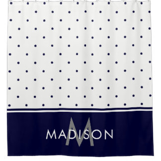 Navy Blue and White Polka Dots Shower Curtain