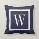 "Navy Blue and White Preppy Square Monogram Throw Pillow<br><div class=""desc"">Cute girly preppy modern square ribbon border personalized with your custom monogram name or initials. Solid color on reverse side. Click Customize It to change monogram font and colors to create your own unique one of a kind design!</div>"