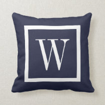 Navy Blue and White Preppy Square Monogram Throw Pillow