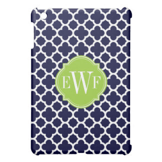 Navy Blue and White Quadrefoil Pattern Monogram Cover For The iPad Mini