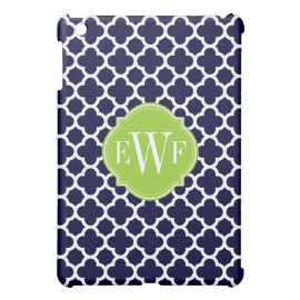 Navy Blue and White Quadrefoil Pattern Monogram iPad Mini Cases