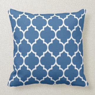 Navy Blue And White Quatrefoil Geometric Pattern Throw Pillows