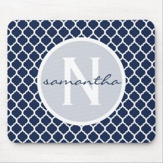 Navy Blue and White Quatrefoil Monogram Mouse Pad
