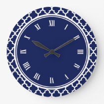 Navy Blue and White Quatrefoil Pattern Large Clock