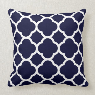 Navy Blue and White Quatrefoil Pattern Throw Pillow