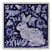 Navy Blue and White Rabbit Bird Stone Tile Trivet