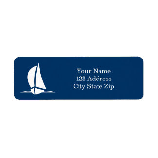 Navy blue and white sailboat return address labels