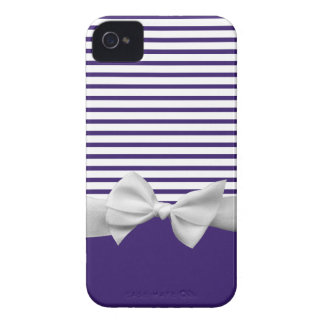 Navy Blue and White Sailor Stripes and Ribbon Bow iPhone 4 Case