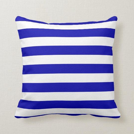 Navy Blue and White Sailor Stripes Throw Pillow