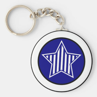 Navy Blue and White Star Keychain