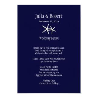 Navy Blue and White Starfish Wedding Menu Template 5x7 Paper Invitation Card