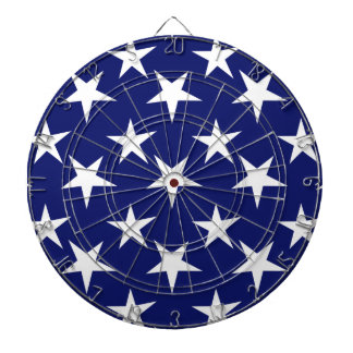 Navy Blue and White Stars; Patriotic Dart Board