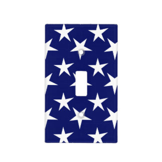 Navy Blue and White Stars; Patriotic Light Switch Plates