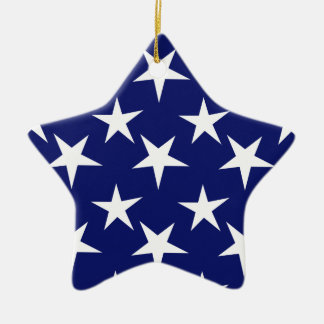 Navy Blue and White Stars Patriotic Ornament
