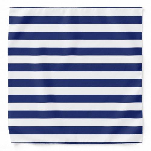 Navy Blue and White Stripe Pattern Bandana