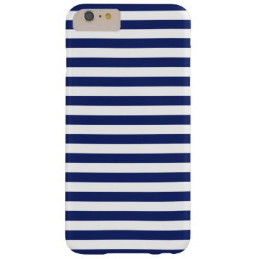Beach Themed Navy Blue and White Stripe Pattern Barely There iPhone 6 Plus Case