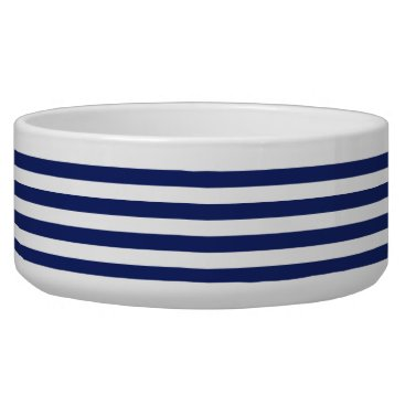 Beach Themed Navy Blue and White Stripe Pattern Bowl
