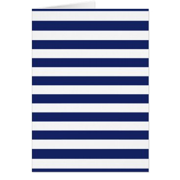 Beach Themed Navy Blue and White Stripe Pattern Card