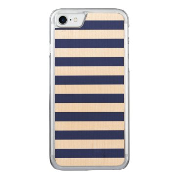 Beach Themed Navy Blue and White Stripe Pattern Carved iPhone 7 Case