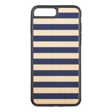Beach Themed Navy Blue and White Stripe Pattern Carved iPhone 7 Plus Case