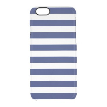 Beach Themed Navy Blue and White Stripe Pattern Clear iPhone 6/6S Case