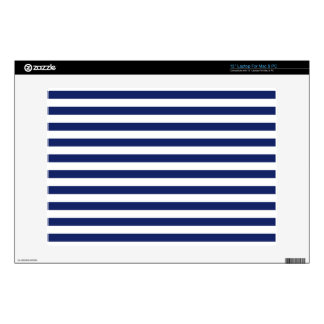 Navy Blue and White Stripe Pattern Decal For Laptop