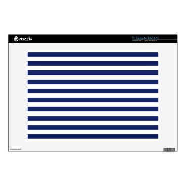 Beach Themed Navy Blue and White Stripe Pattern Decal For Laptop