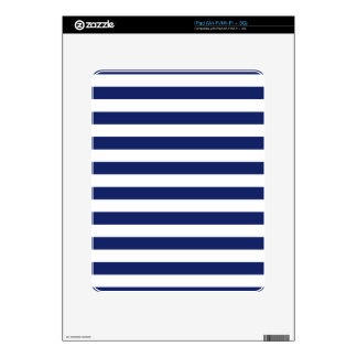 Navy Blue and White Stripe Pattern Decal For The iPad