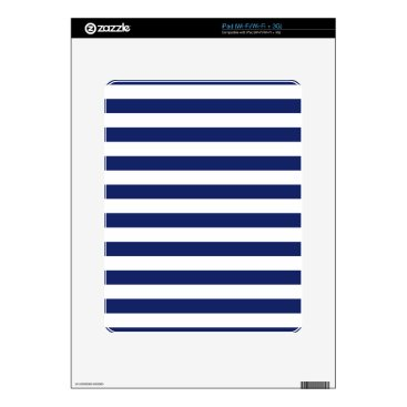 Beach Themed Navy Blue and White Stripe Pattern Decal For The iPad