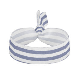 Navy Blue and White Stripe Pattern Hair Tie