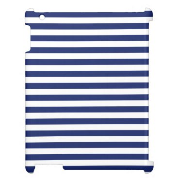 Beach Themed Navy Blue and White Stripe Pattern iPad Cases