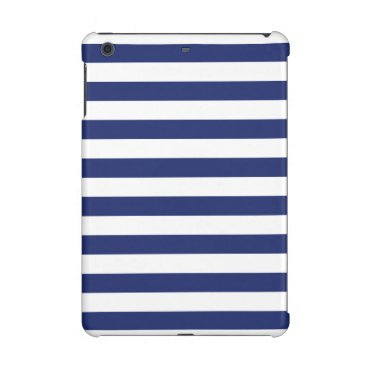 Beach Themed Navy Blue and White Stripe Pattern iPad Mini Cases