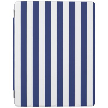 Beach Themed Navy Blue and White Stripe Pattern iPad Smart Cover