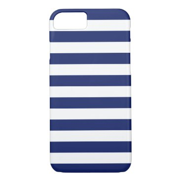 Beach Themed Navy Blue and White Stripe Pattern iPhone 7 Case