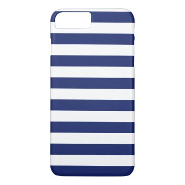 Beach Themed Navy Blue and White Stripe Pattern iPhone 7 Plus Case
