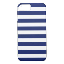Navy Blue and White Stripe Pattern iPhone 8/7 Case