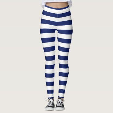 Beach Themed Navy Blue and White Stripe Pattern Leggings