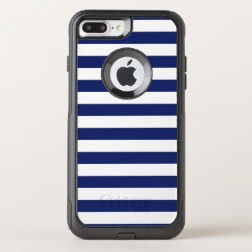 Beach Themed Navy Blue and White Stripe Pattern OtterBox Commuter iPhone 7 Plus Case