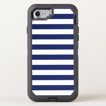 Beach Themed Navy Blue and White Stripe Pattern OtterBox Defender iPhone 7 Case