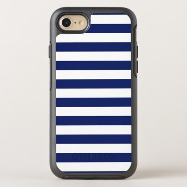 Beach Themed Navy Blue and White Stripe Pattern OtterBox Symmetry iPhone 7 Case